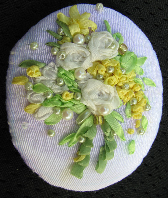 Ribbon Embroidery Brooch