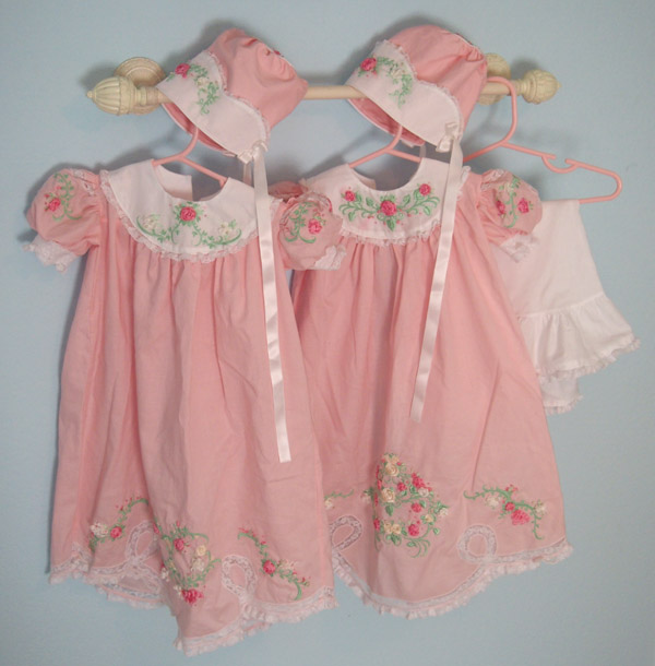 Aimeemajor Twin Heirloom Ribbon Embroidery Baby Dresses