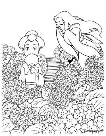 Hydrangea and Yurei yokai